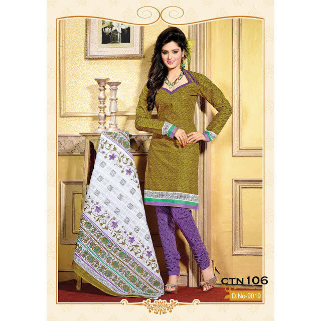 Mahendi and Purple Cotton Salwar Kameez Dress Material