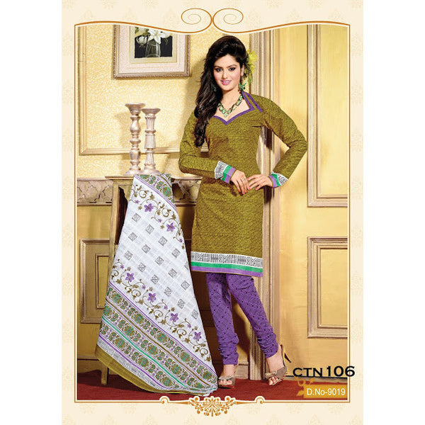 Mahendi and Purple Cotton Salwar Kameez Dress Material - rang
