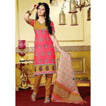 Pitch and Light Yellow Cotton printed Salwar Kameez Dress Material