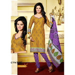 Yellow and Purple Cotton Printed Salwar Kameez Dress Material