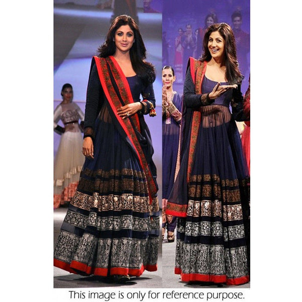 RCPC - SHILPA SHETTY - BLUE SEMI STITCHED BOLLYWOOD ANARKALI SUIT - Ram Chand Punam Chand