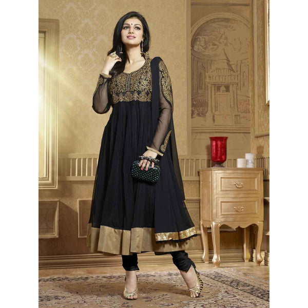 AYESHA TAKIA - Designer semi stitched  black georgette Salwar Suit with dupatta - rang