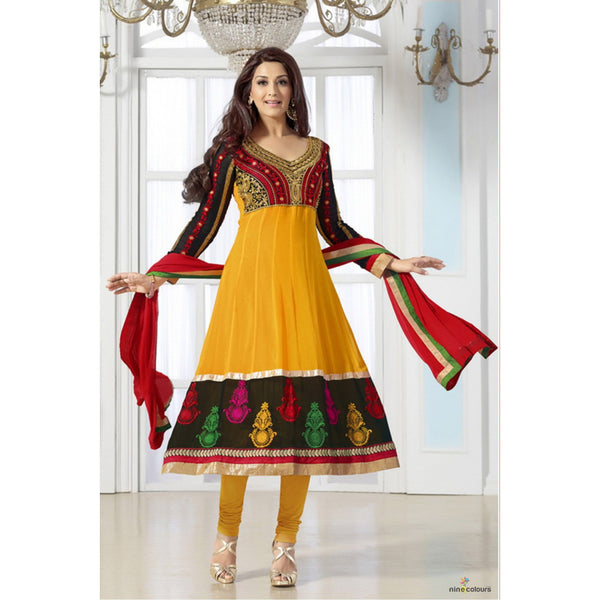 Sonali Bendre - Bollywood Georgette Suit in Yellow and Black Colour 31025