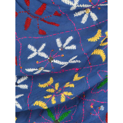 Shopatplaces - Phulkari Dupattas In Royal Blue for women in USA