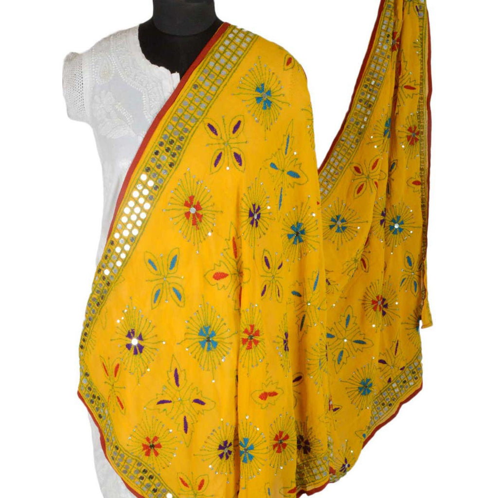 Shopatplaces - Phulkari Dupattas for women In Yellow in USA
