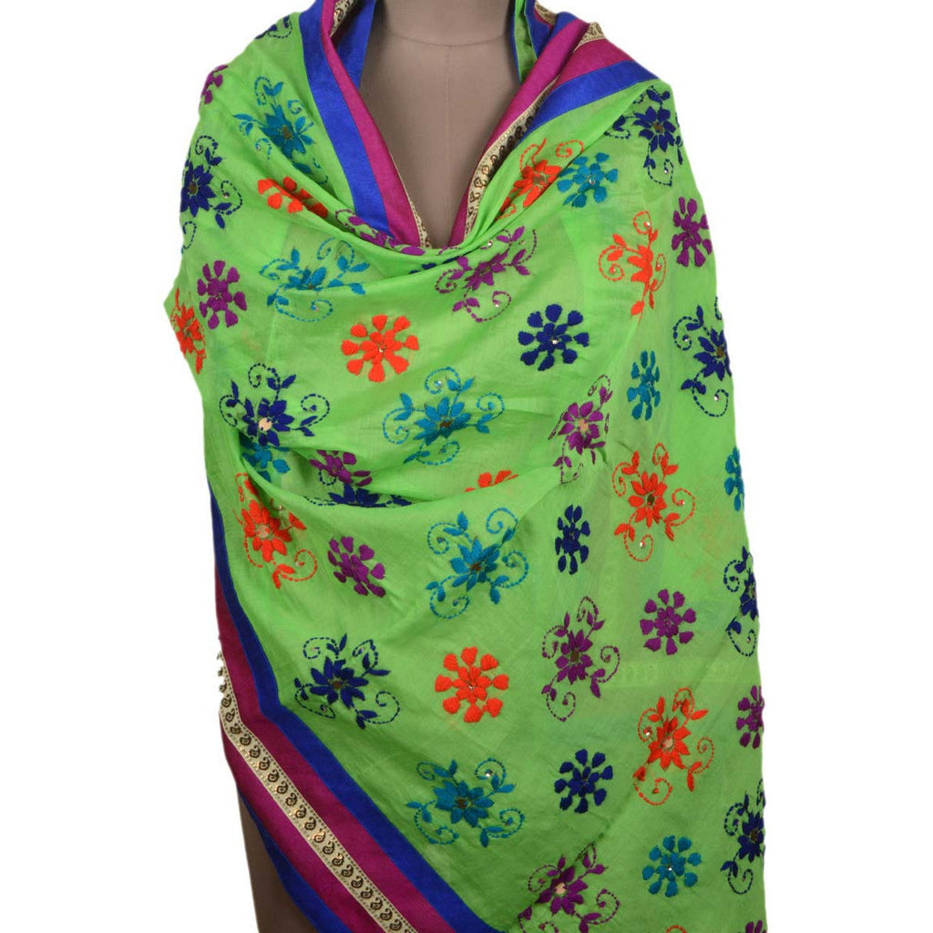 Shopatplaces - Chanderi Silk Phulkari Dupatta In Mint Green for women in USA