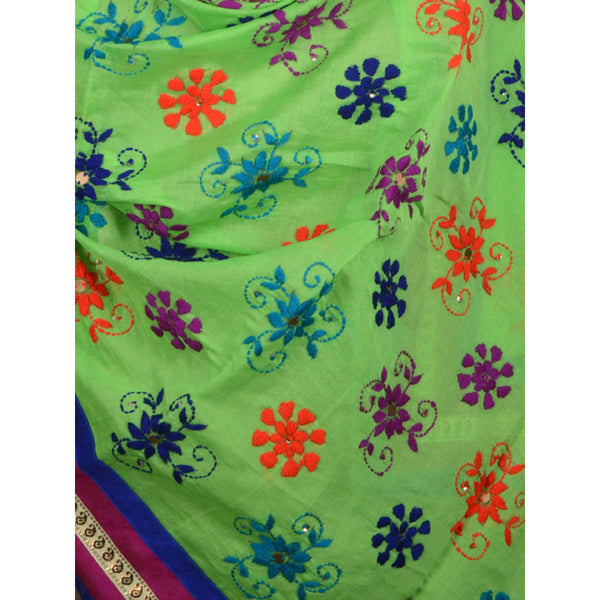 Shopatplaces - Chanderi Silk Phulkari Dupatta In Mint Green for women in USA - rang