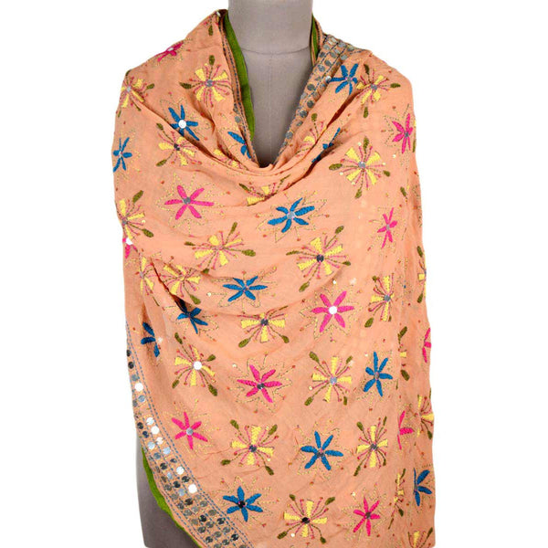 Shopatplaces - Phulkari Dupatta In Coral Pink for women in USA - rang