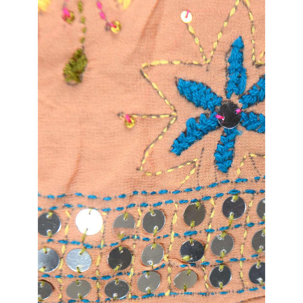 Shopatplaces - Phulkari Dupatta In Coral Pink for women in USA