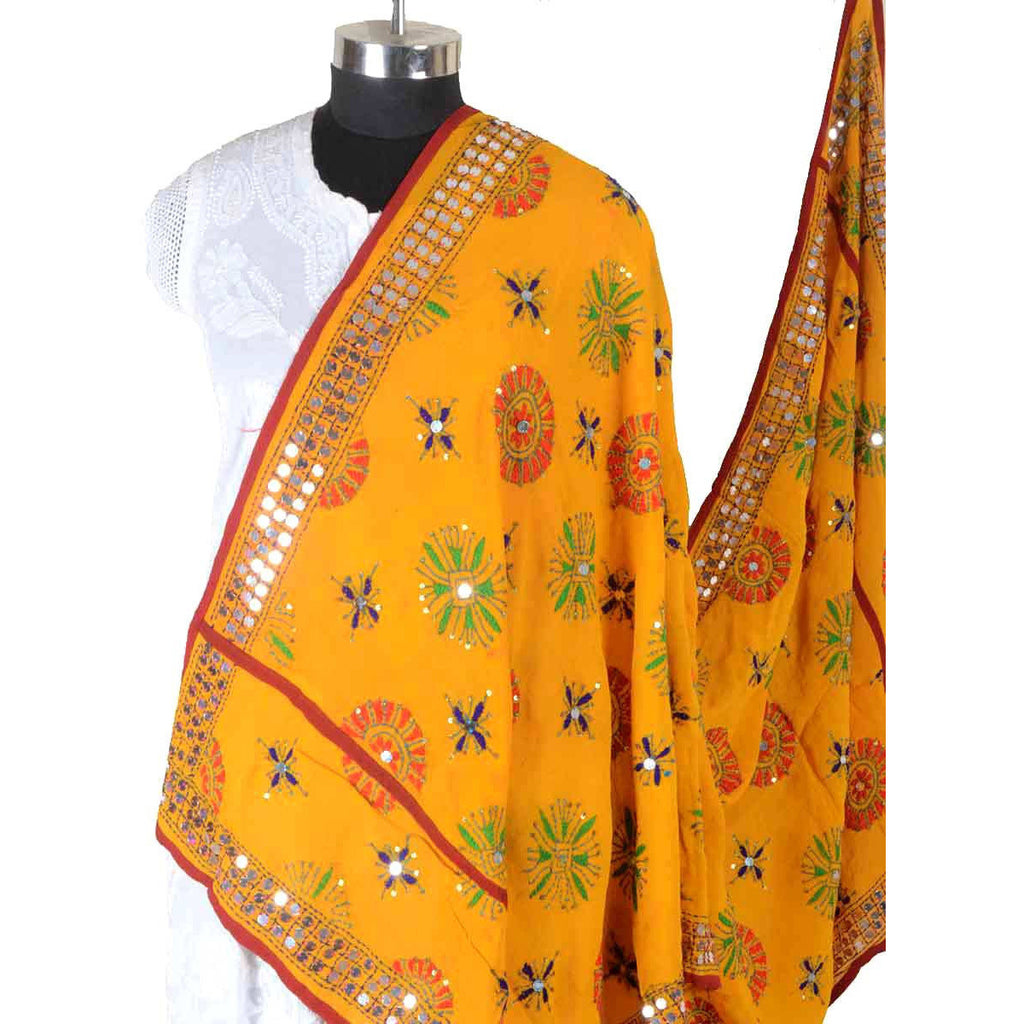Shopatplaces - Phulkari Dupatta In Deep Yellow for women in USA