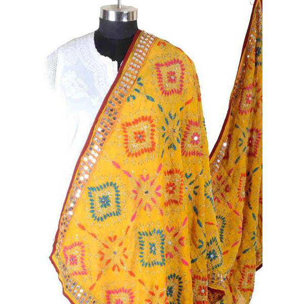 Shopatplaces - Phulkari Dupatta In Yellow for women in USA - rang