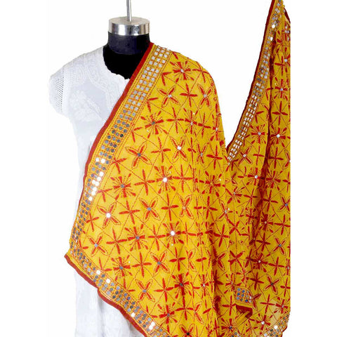 Shopatplaces - Phulkari Dupattas In Yellow for women in USA