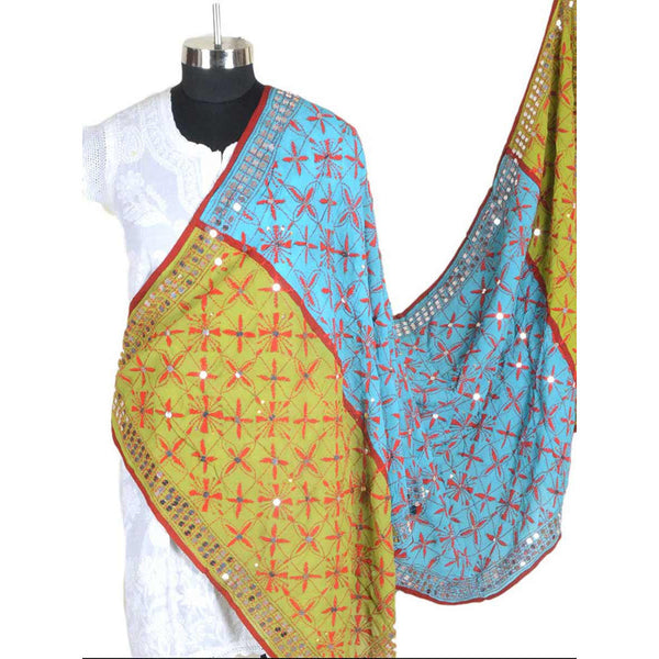 Shopatplaces - Phulkari Dupatta In Sky Blue & Yellow for women in USA