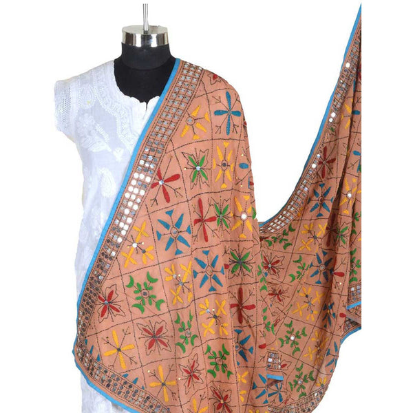 Shopatplaces - Phulkari Dupatta In Salmon Orange for women in USA