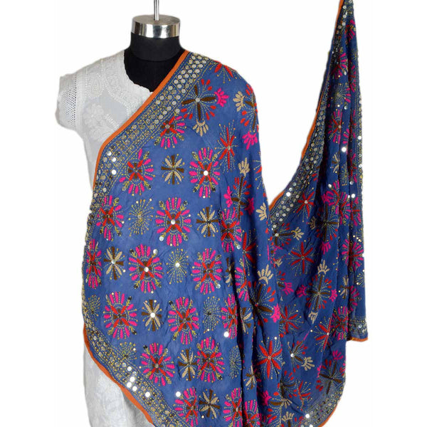 Shopatplaces - Phulkari Dupatta In Blue for women in USA - rang