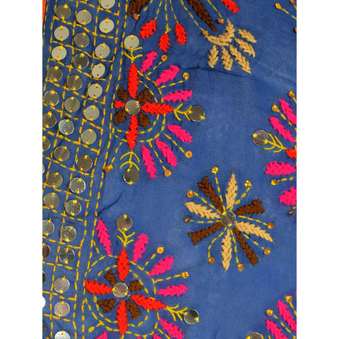 Shopatplaces - Phulkari Dupatta In Blue for women in USA