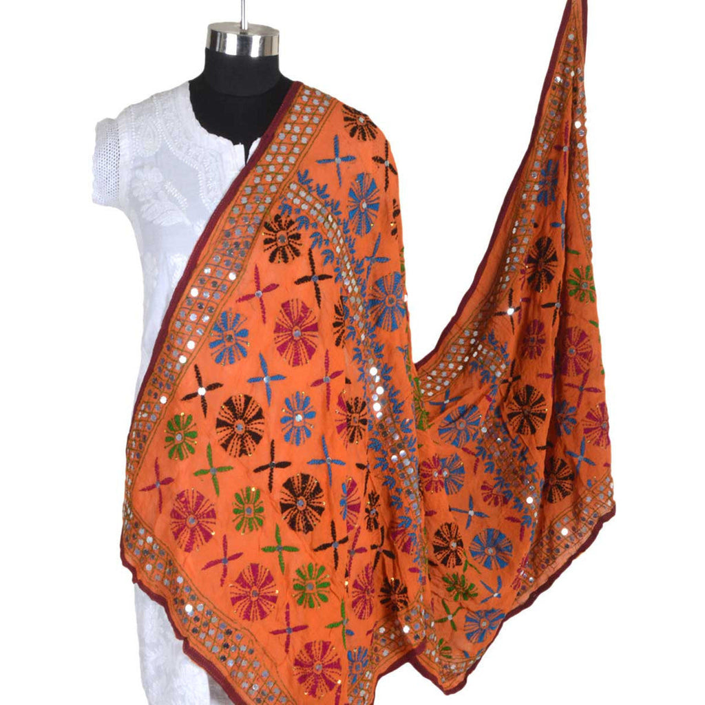 Shopatplaces - Phulkari Dupatta In Orange for women in USA
