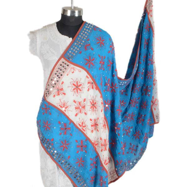 Shopatplaces - Phulkari Dupatta In White & Blue for women in USA