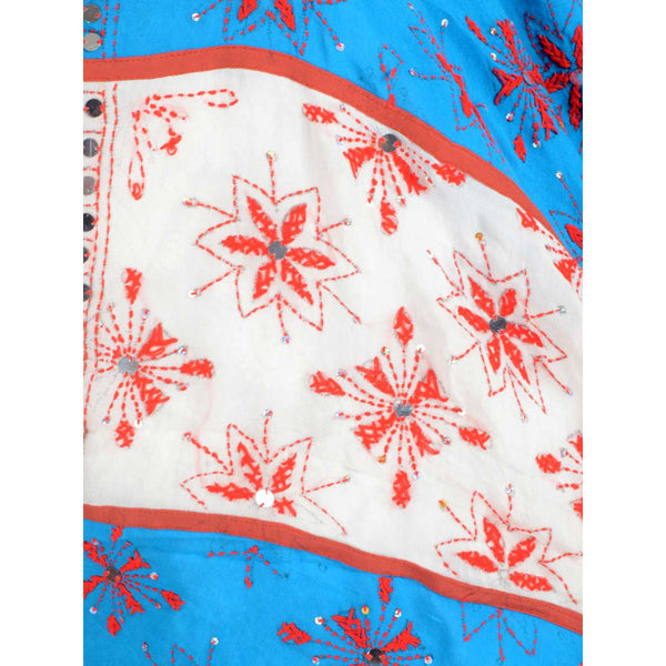 Shopatplaces - Phulkari Dupatta In White & Blue for women in USA - rang