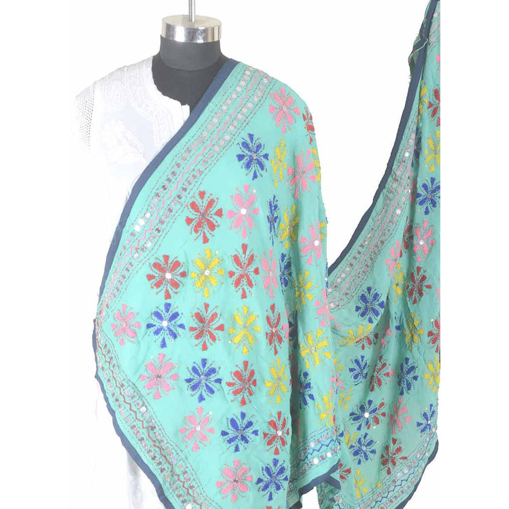 Shopatplaces - Phulkari Dupatta In Sky Blue for women in USA