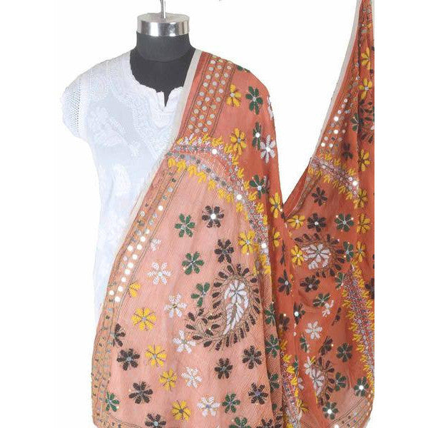 Shopatplaces - Phulkari Dupatta In Pumpkin Orange for women in USA - rang