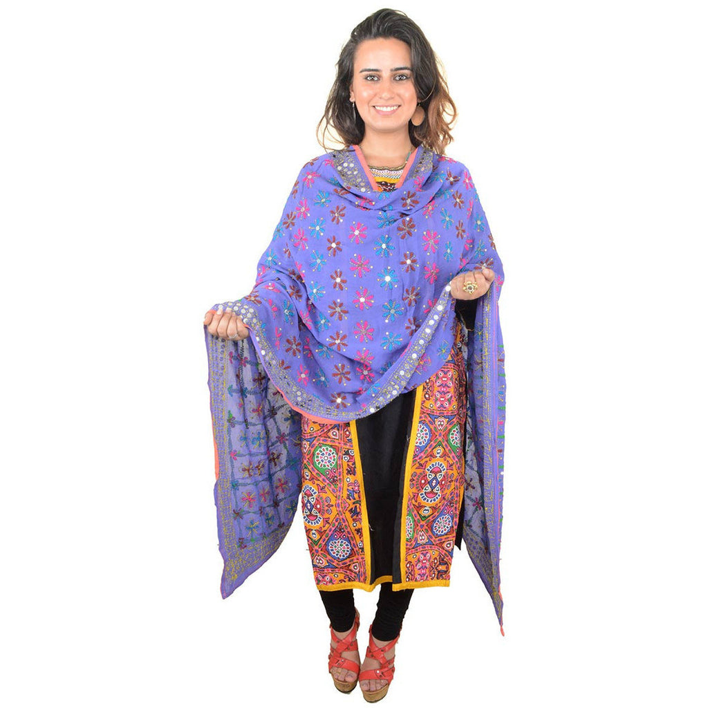 Shopatplaces - Phulkari Dupatta In Royal Blue for women in USA