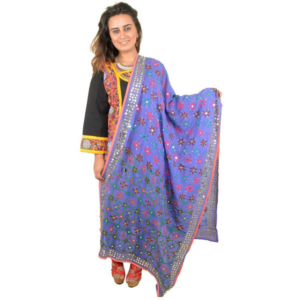 Shopatplaces - Phulkari Dupatta In Royal Blue for women in USA - rang
