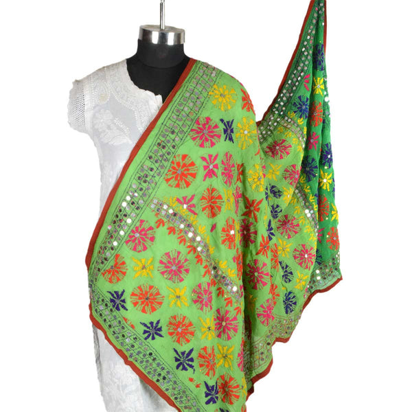 Shopatplaces - Phulkari Dupatta In Light Green for women in USA