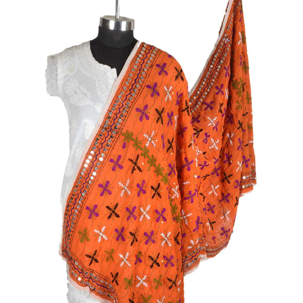 Shopatplaces - Phulkari Dupatta In Deep Carrot Orange for women in USA