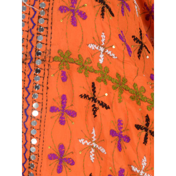 Shopatplaces - Phulkari Dupatta In Deep Carrot Orange for women in USA - rang