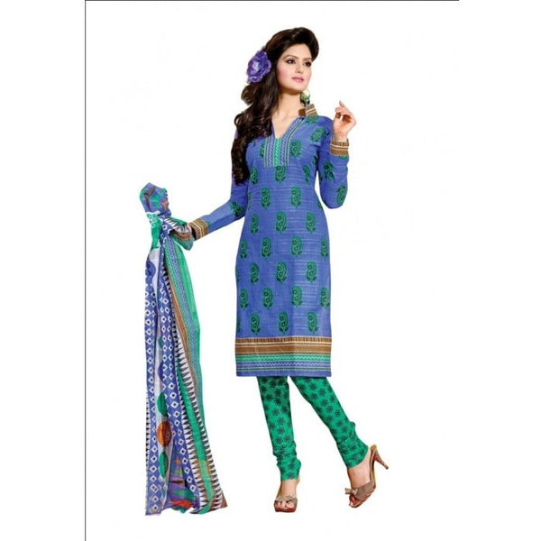 Hypnotex - Blue Colored Pure Cotton Printed Semi-Stitched Salwar Suit Dress Material - rang