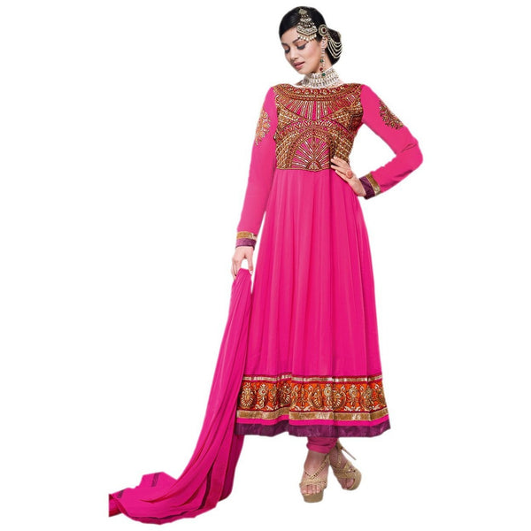 Hypnotex - Sreya702 - Pink Georgette Semi Stitch Salwar Suits Dress Material - rang