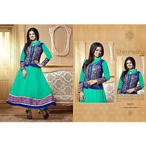 Adah Fashions - Ayesha Takia - Green Semi Stiched Salwar Suit - 15011 - rang