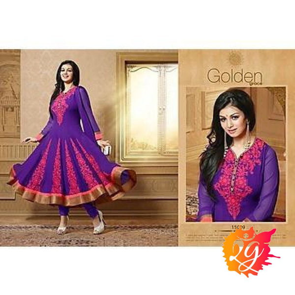 Adah Fashions - Ayesha Takia Purple Semi Stiched Salwar Suit - 15009 - rang