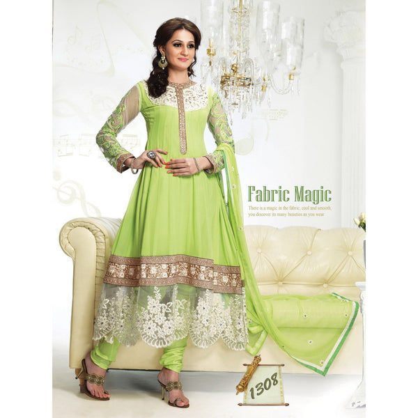 Adah Fashions - green color Georgette fabric semi stitched salwar suit with dupatta - 1308 - rang