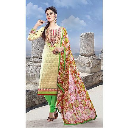 Adah Fashions - Off White Semi Stitched Salwar Suits/Kameez Set - 3302A