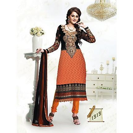 Adah Fashions - Orange And Black Semi Stiched Salwar Suit - 432-1313