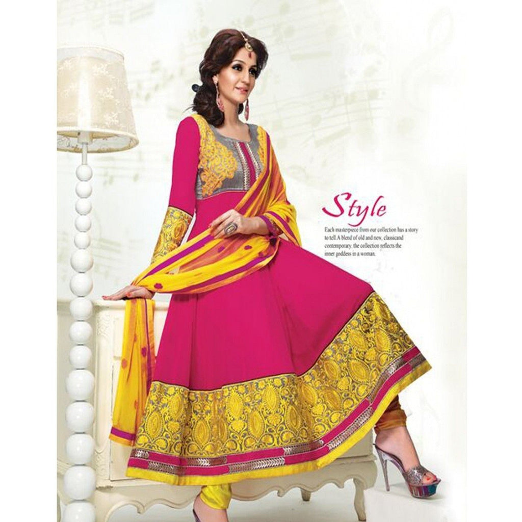 Adah Fashions - maroon and yellow color Georgette fabric semi stitched salwar suit with dupatta
