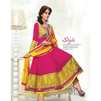 Adah Fashions - maroon and yellow color Georgette fabric semi stitched salwar suit with dupatta - rang