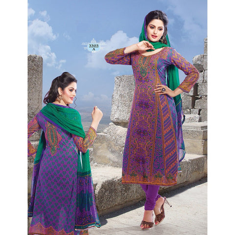 Adah Fashions - Purple Semi Stitched Salwar Suits Kameez Set - 3303A