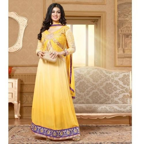 Georgette Embroidered Shaded Yellow Long Anarkali Suit - 15008 | Unstitched Salwar Kameez | #Rang