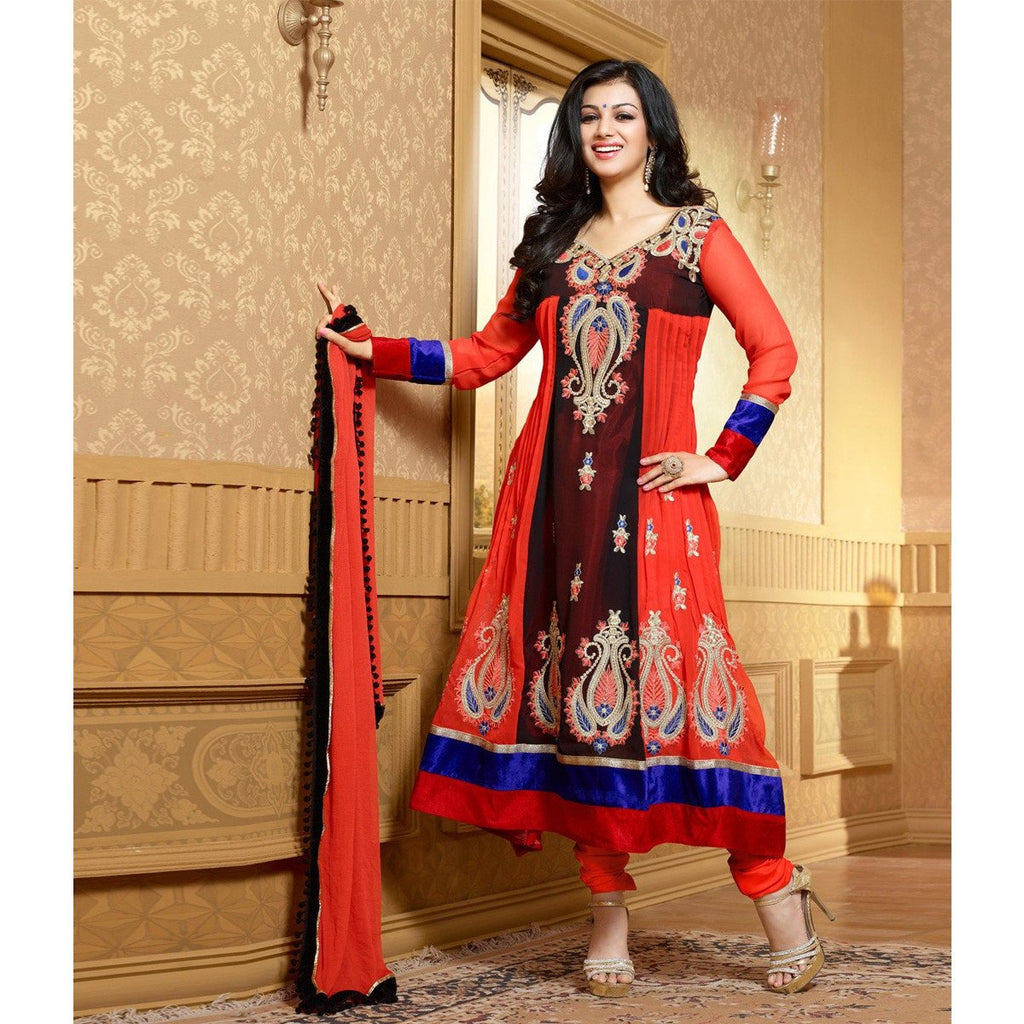 Ayesha Takia - Georgette Embroidered Orange Long Anarkali Suit - 15012