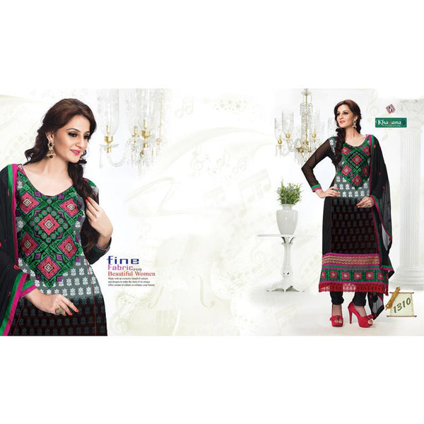 Black color Georgette fabric semi stitched suit with dupatta - rang