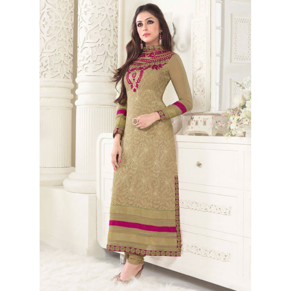 Hypnotex - Chikoo Georgette semi stitch Salwar suits dress divya2510 - rang