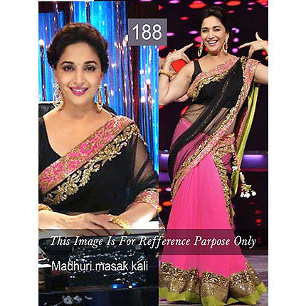Ram Chand Punam Chand (RCPC) - Madhuri Dixit - Masak Kali - Pink And Black Bollywood Lehenga Choli