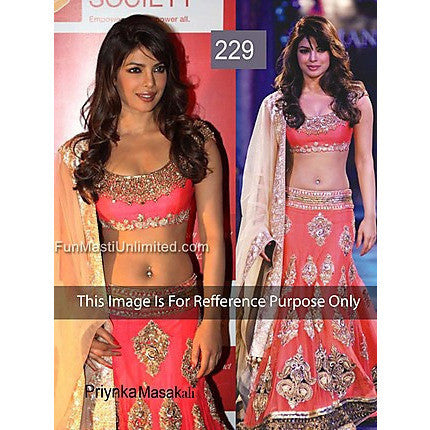 Ram Chand Punam Chand (RCPC) - Priyanka Chopra - Georgette Red Lehenga Choli - Bollywood