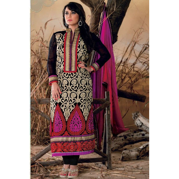 Minisha Lamba Suits-Black Faux Georgette Salwar kameez with Embroidered and Lace Work - rang