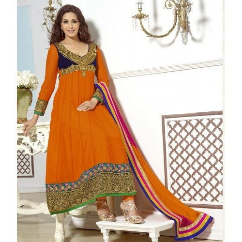 Sonali Bendre - Georgette Orange Long Anarkali Suit with Patch Work - 31026