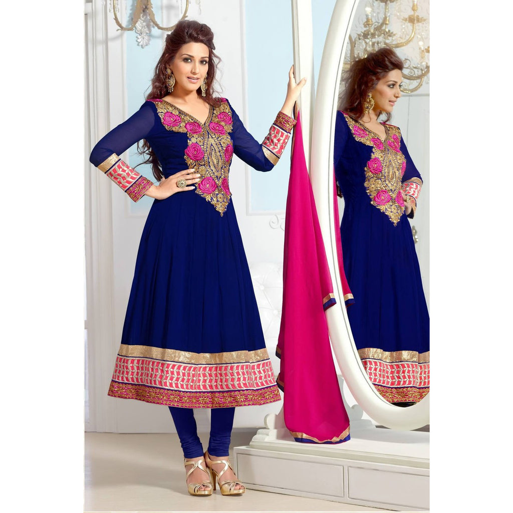 Sonali Bendre - Striking Neck Embroidered Party Wear Faux Georgette Anarkali Suit 31021