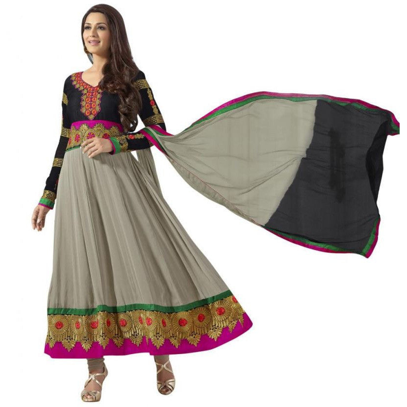 Sonali Bendre - Georgette Grey & Black long Anarkali Suit with resham work - 31022